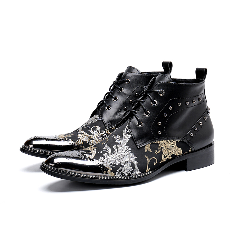 New Style Black Flowers Print Lace-up  Ankle Boot Fashion Low Heel Carved Oxford Pointed Toe Martin Boots Men Size 38-46