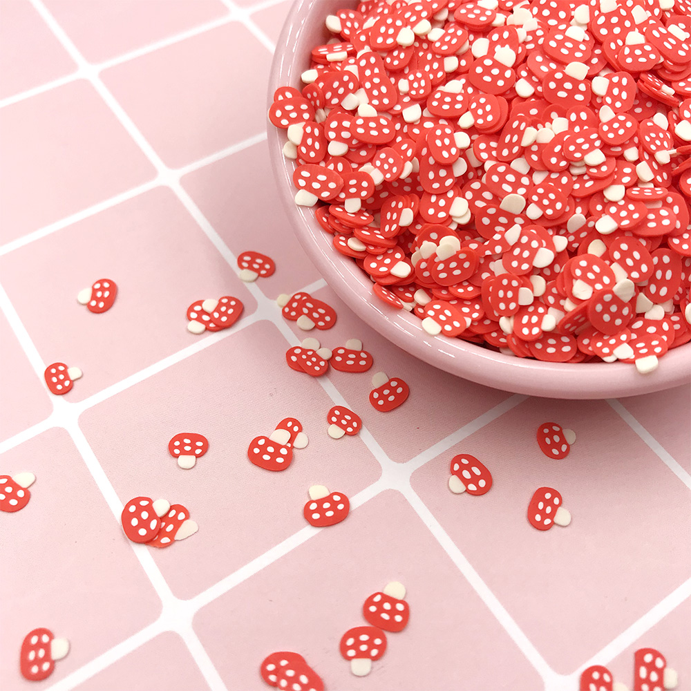 50g/lot 5mm Cute Mushroom Slice Soft Clay Sprinkles For Slime Material Polymer Clay Crafts Making DIY Nail Arts Decoration