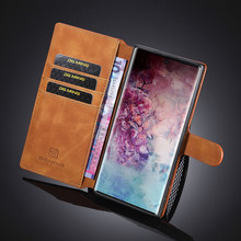 Luxury Leather Case For Samsung Galaxy Note 10 10+ 9 8 A50 A70 A40 A6 A9 A8 A7 2018 S8 S9 S10 Plus Flip Phone Case Wallet Cover(China)