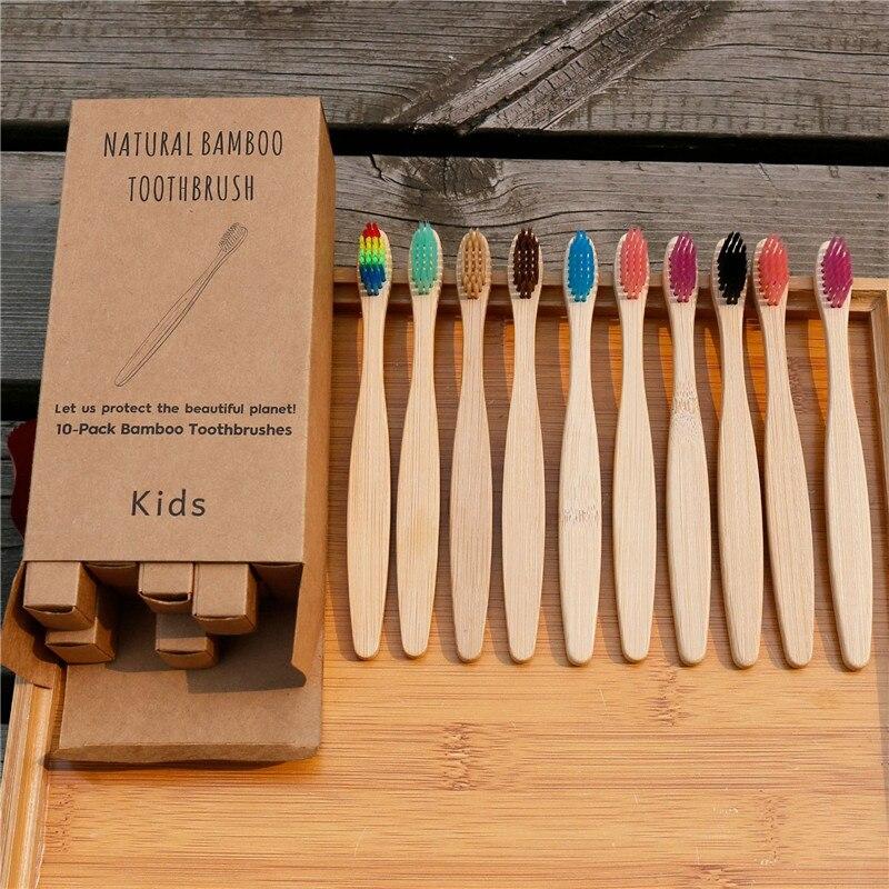5 шт./компл. детская зубная щетка из мягкого волокна, экологически чистая деревянная бамбуковая зубная щетка, деревянная ручка, зубная щетка,...