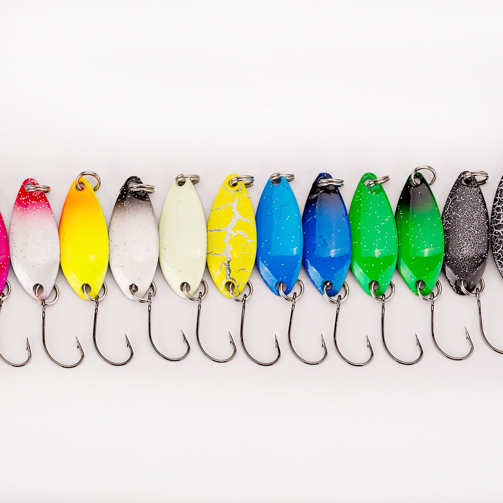 1pcs 3g/3.3CM Fishing Metal Colorful Spoon Baits Metal Spinner Lure Mini Bait For Trout Single Hook