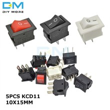 5 uds. KCD11 3A 250V 10*15MM 2pin 3Pin ON-OFF 10X15mm pequeño barco basculante interruptor de alimentación Snap-in Rojo Negro Blanco ON-OFF-ON(China)