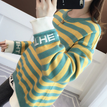 Buy Autumn and winter new maternity dress shirt striped round neck loose pregnant sweater sweater stitching fake two directly from merchant!