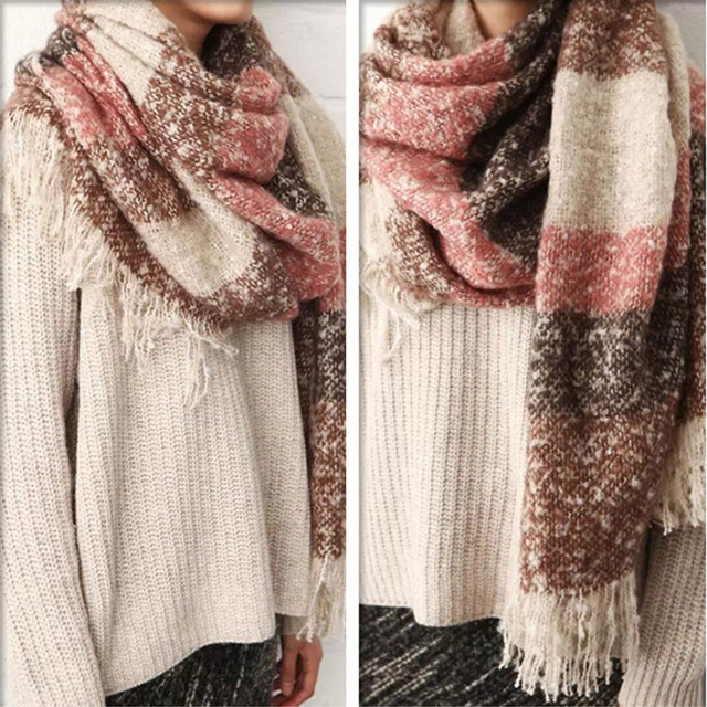 2020 Women Fall Winter Mohair Cashmere Like Scarf Long Size Warm Fashion Scarves & Wraps For Lady Casual Patchwork Accessories 3