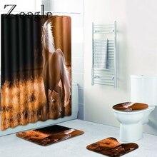 Zeegle с животным принтом, занавеска, коврик для ванной, набор, нескользящий коврик для ванной комнаты, коврик для душа, мягкий фланелевый коврик для туалета, 4 шт, набор для туалета