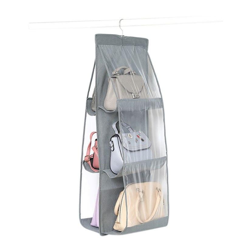 6 Pocket Folding Hanging Handbag Storage Holder Organizer Rack Hook Hanger Multi-color