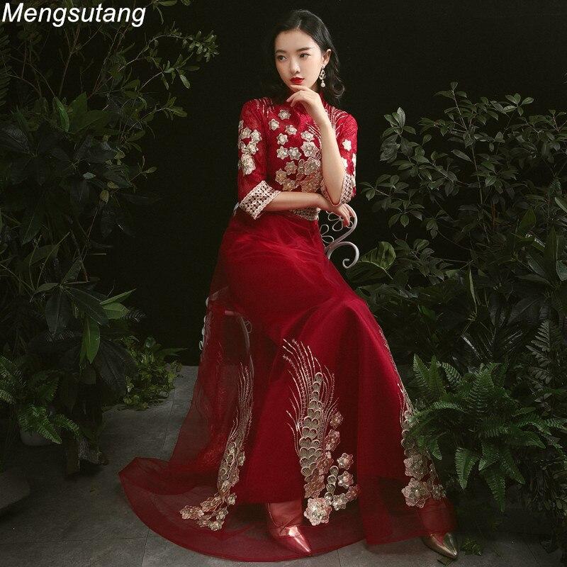 Robe de soirée élégant vin rouge a-ligne robes de soirée 2020 robes de bal col haut étage longueur trois quarts Occasion formelle