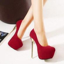 2020 Big Size 41 42 43 44 45 Sexy Women Pumps Wedding Female Shoes High Heel Stripper Platform Pumps Slip-on Stiletto 16 cm