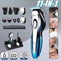 Kemei машинка для стрижки волос Мужская бритва для бороды электрическая машинка для стрижки волос триммер для носа многофункциональная бритв...