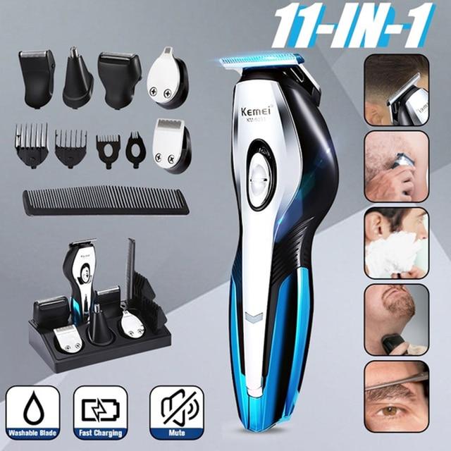 Kemei hair clipper mens beard shaver electric Hair Clipper hair trimmer nose trimmer multifunction shaver cordless haircut 5