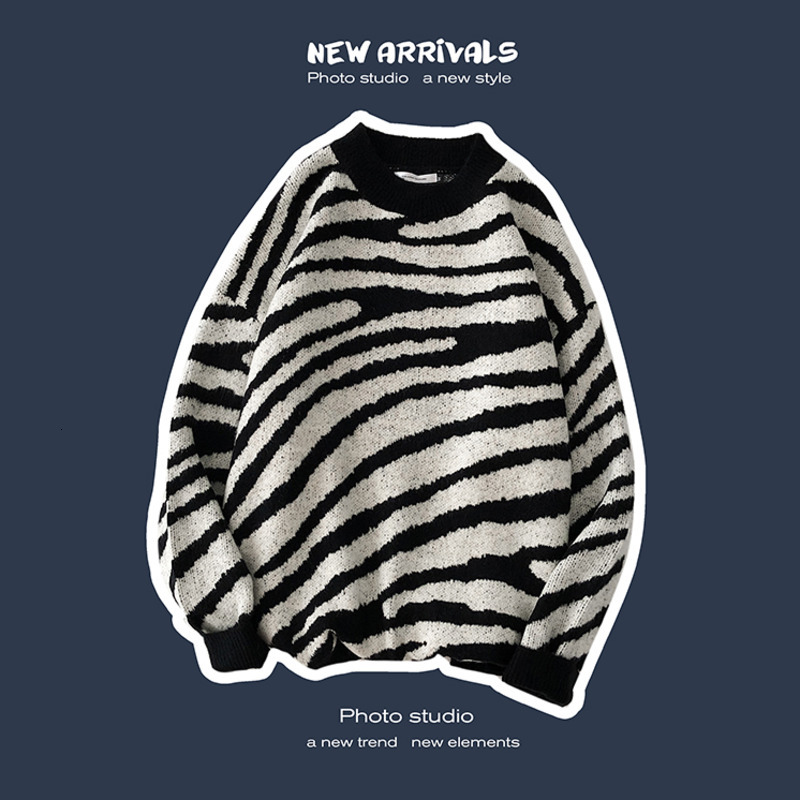 Winter Striped Sweater Men's Warm Fashion Casual O-neck Knit Pullover Men Streetwear Wild Knitting Sweaters Male Sweter Clothes