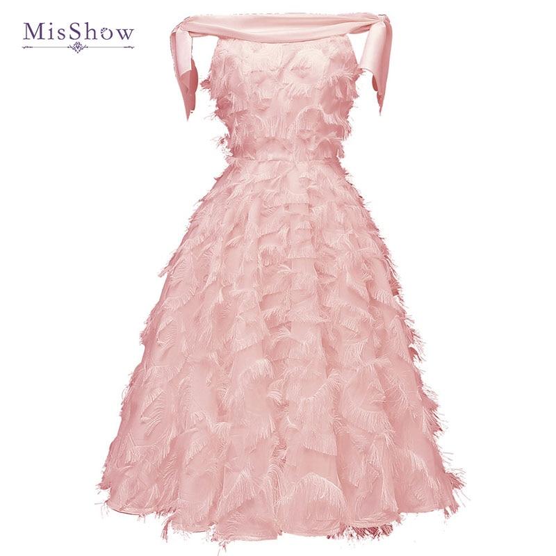 Elegant Boat Neck Cocktail Dresses Pink Full Tassel Short Prom Dress Burgundy A Line Formal Dress For Wedding Party