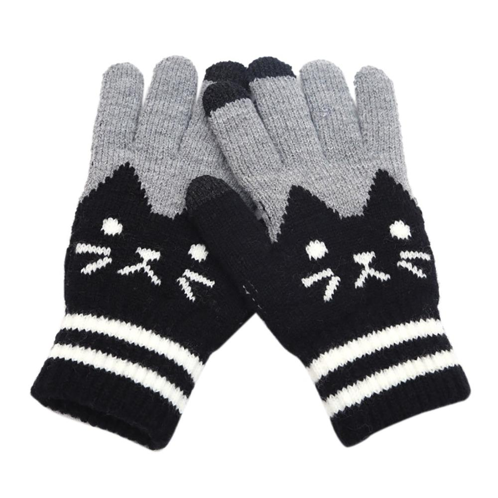 Winter Gloves Women Men Cut Cat Knit Touch Screen Fingers Click Screen Warm Fleece Glove Hot Sale Handschoenen Guantes Invierno