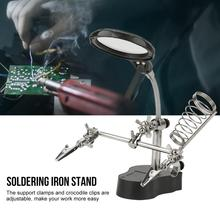 цена на Helping Hand Auxiliary Clip Magnifying Soldering Iron Lens Magnifier LED Light Stand Domestic Delivery