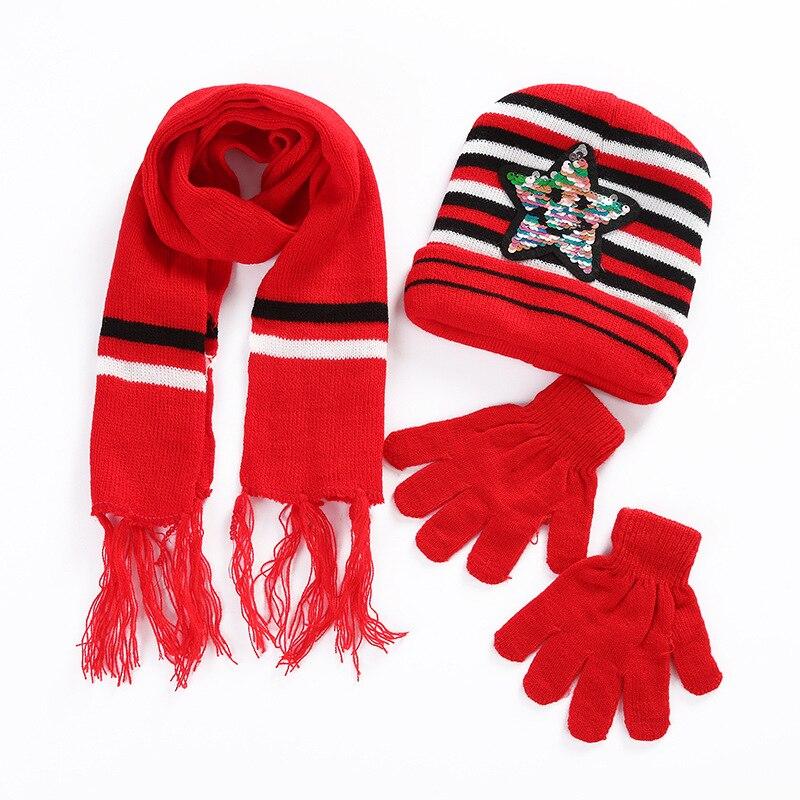 Sequins Five-pointed Star Children's Hat Scarf Gloves Three-piece Autumn Winter Outdoor Warm Knitted Wool Beanie Cap Boys Girls