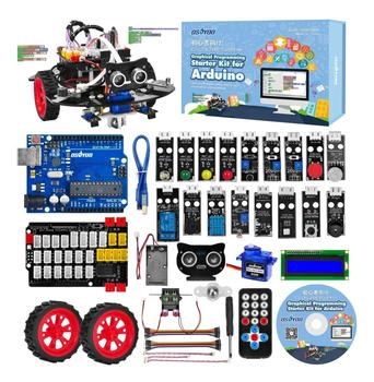 OSOYOO Graphical Programming Robot Car Starter Kit for Arduino Uno Remote Controlled STEM Mechanical Motorized Robotics diy robot kit bluetooth robot intelligent car for studying starter little turtle accessory
