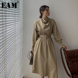 Женское асимметричное платье EAM, Длинное свободное платье цвета хаки с воротником-стойкой и длинными рукавами, весна-осень 2020, 1W475