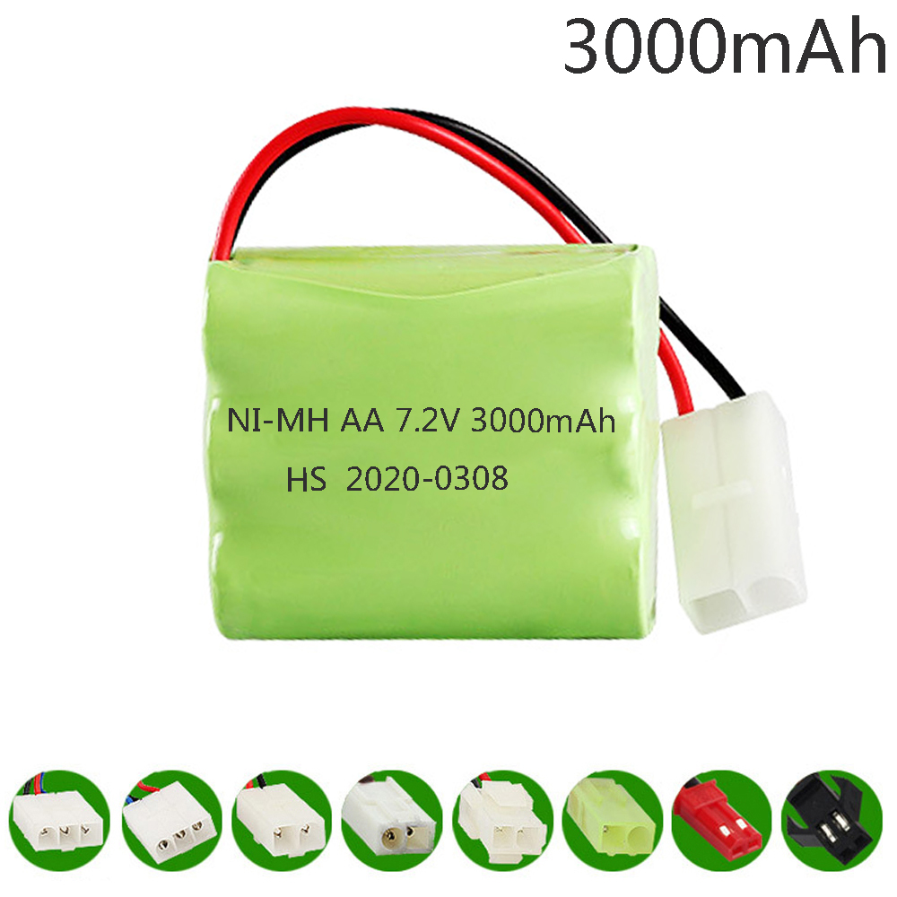7.2V 3000mah NiMH <font><b>Battery</b></font> T model For Rc toys Cars Tanks Trains Robot Boat Guns Ni-MH AA 700mah <font><b>7.2</b></font> <font><b>v</b></font> upgrade <font><b>Battery</b></font> toys parts image