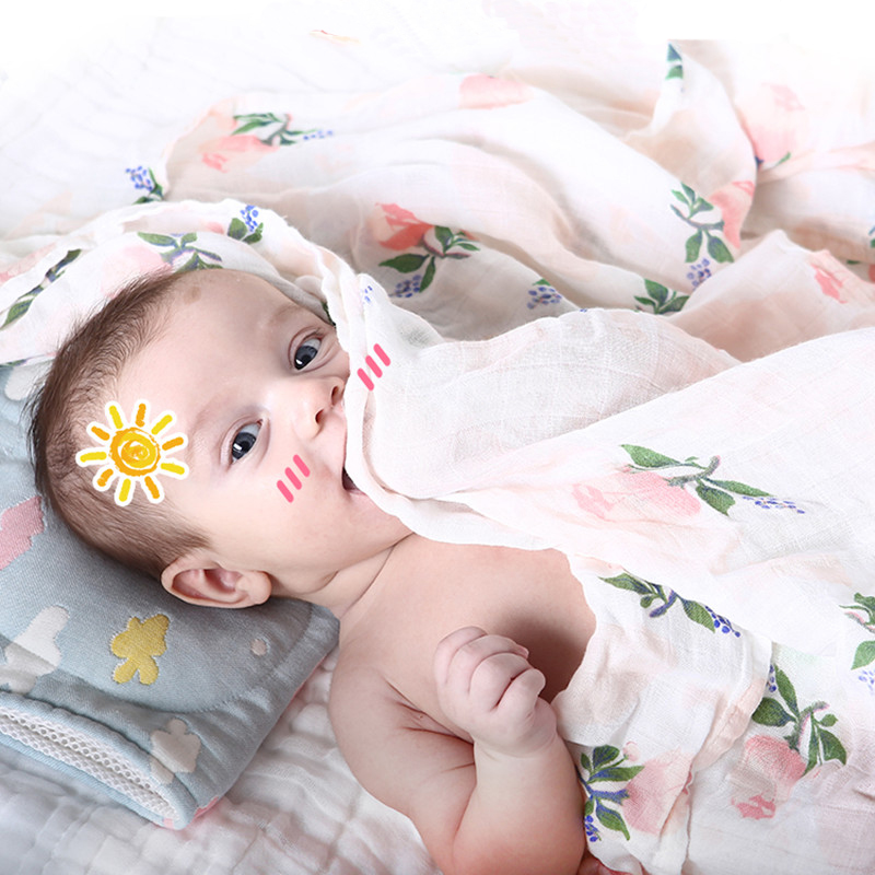 1Pc Muslin 100% Cotton Baby Swaddles Flamingo Multi-use Newborn Blankets Bath Gauze Infant Wrap Sleepsack Stroller Cover