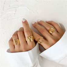Punk A-Z 26 Letter Rings for Women Gold Adjustable Opening Initial Name Alphabet Ring Personalized Party Jewelry