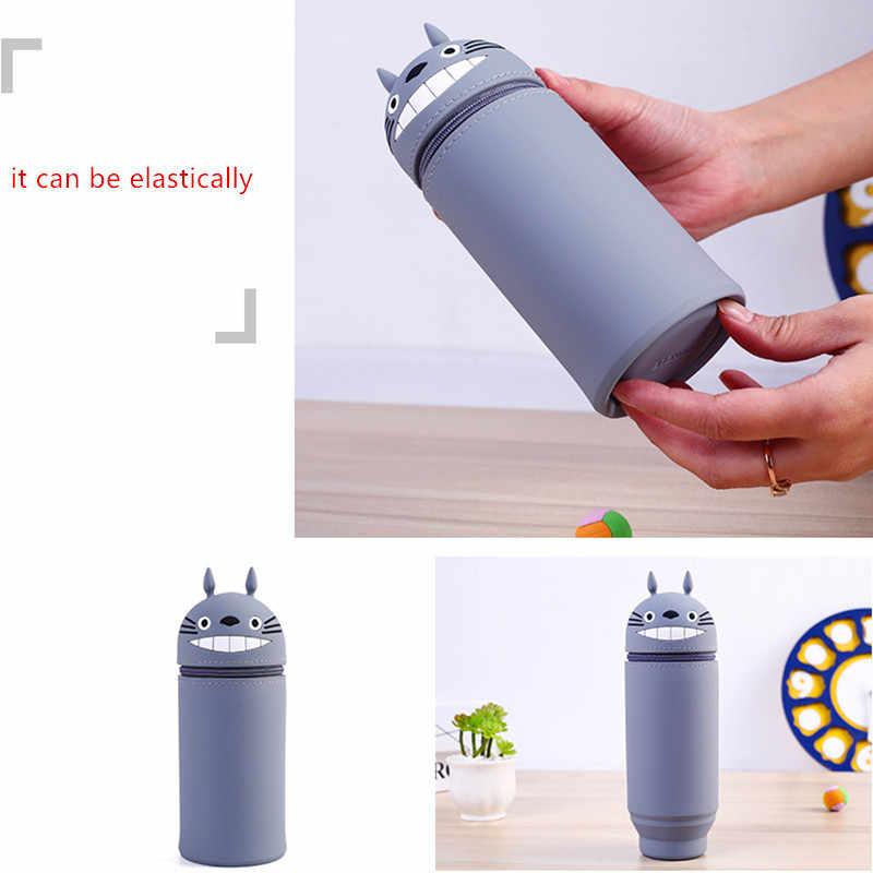 Bezpłatny dropshipping Pen ołówek stojak pojemnik do przechowywania pojemnik pudełko na artykuły biurowe miękkiego silikonu Anime Totoro Bag Case Organizer