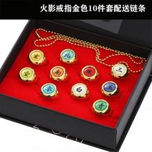 10 estilo anime hokage naruto cosplay anel dourado/prata anel akatsuki itachi anel de metal dedo ninja adereços acessórios presente