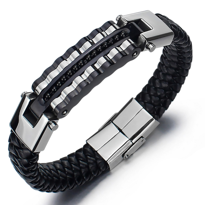 Men'S Bracelets Woven PU Bracelet Fashion Rock Song Special Punk image