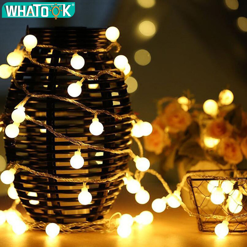 LED Ball String Lights Wedding Fairy Light Christmas Outdoor Indoor 10M 20M 30M 50M Garland Holiday Party Garden Deco EU Plug
