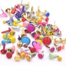 100 шт Металлические штифтики для скрапбукинга, Украшение Мини Brads эпоксидные жемчужные Brads золотого цвета, наборы для вырезок