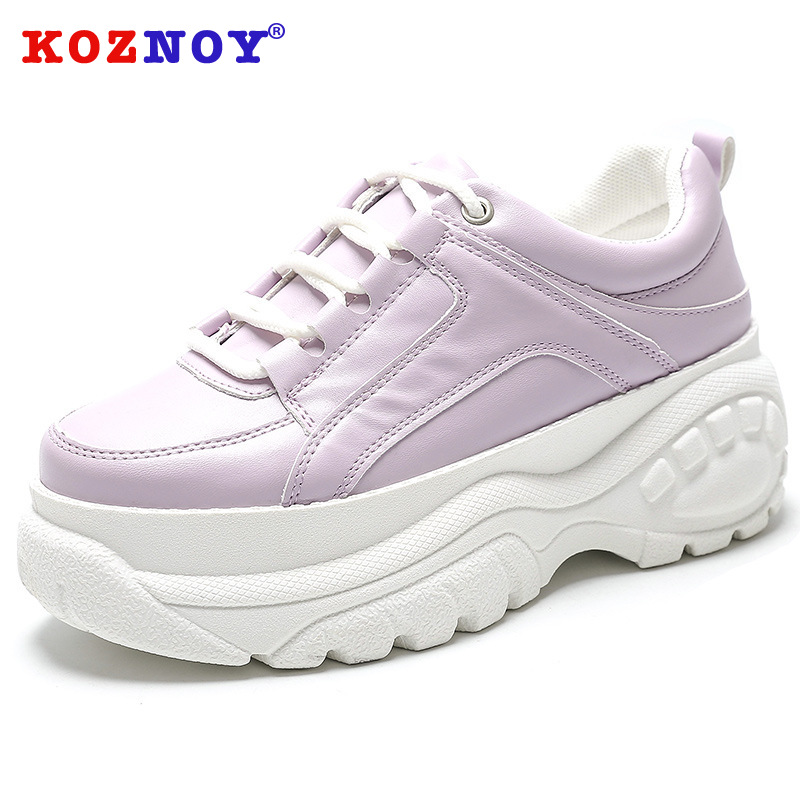 Koznoy Sneakers Women Spring New Bright Face Dropshipping Wear resistant Tire Bottom Leisure Fashion Thick Bottom White Shoes in Women 39 s Vulcanize Shoes from Shoes