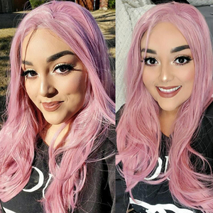 Image 5 - Fantasy Beauty Ash Pink Lace Front Wigs Long Wave Synthetic Lace Wig Hair Replacement Wigs for Women