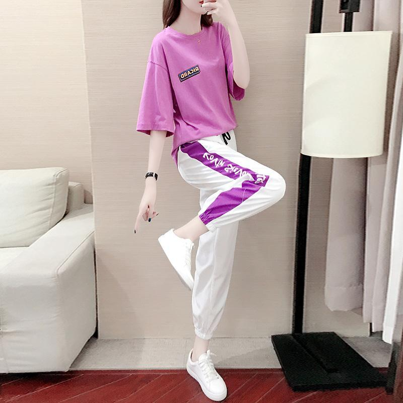 Sports Suit Women Fashion Summer New Loose Kpop Temperament Casual Clothes Two-piece Female Outfits