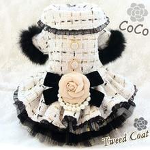 Free Shipping Handmade Dog Clothes Fashion Camellia Bow Tweed Pet Dress Coat  Cats Poodle Yorkie Maltese Florida