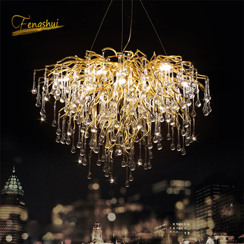 Nordic Luxury Crystal LED Chandelier Dimming LOFT Villa Large Lustre Water drop Living Room Hotel Hall Art Indoor decor Lighting