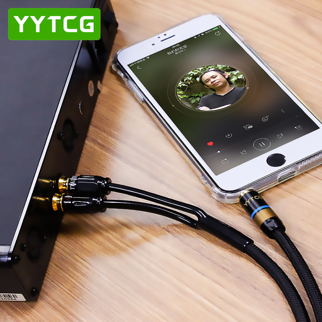 YYTCG RCA Cable HiFi Stereo 3.5mm to 2RCA Audio Cable AUX RCA Jack 3.5 Y Splitter for Amplifiers Audio Home Theater Cable RCA 2