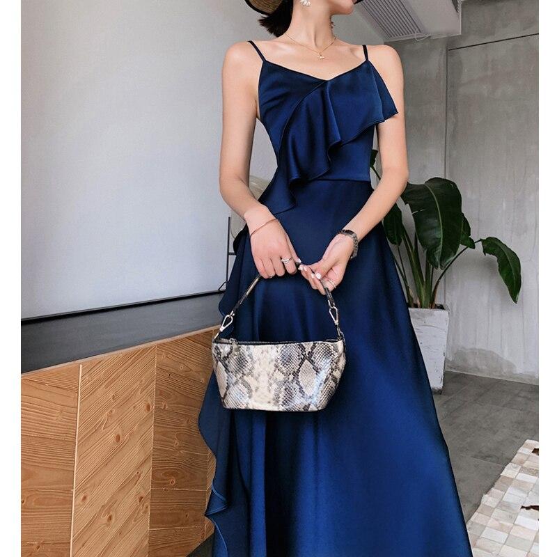 Vintage été bleu robe en Satin femmes Spaghetti sangle réglable à volants moulante dos nu enveloppement Sexy Club robes de soirée