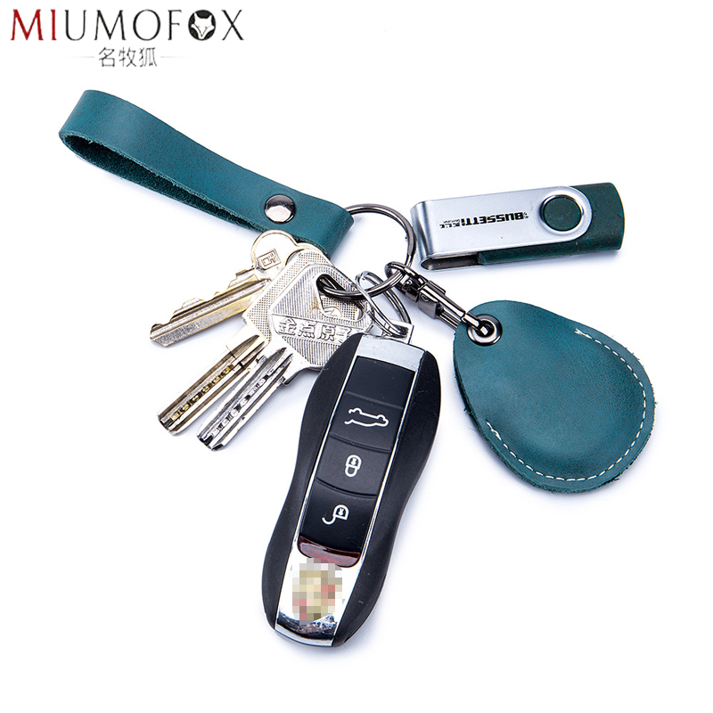 High-Grade Car Keychains Genuine Leather Pendant Key Holder IC Entrance Guard Card Set Keys Smart Wallet EDC Housekeeper Unisex