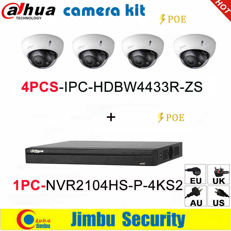 Dahua IP Camera Kit NVR Kit  4CH 4K Video Recorder NVR2104HS-P-4KS2 & Dahua 4MP IP Camera 4pcs IPC-HDBW4433R-ZS Multi-language