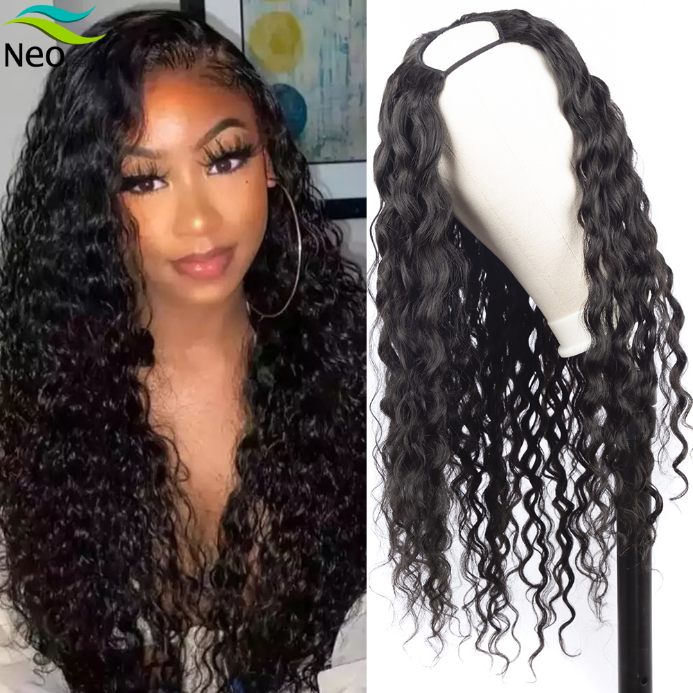 U Part <font><b>Wig</b></font> Human <font><b>Hair</b></font> Water Wave for Black Women Undetectable 180 Density Waterly curly Human <font><b>Hair</b></font> <font><b>Wig</b></font> <font><b>10A</b></font> Brazilian Virgin <font><b>Hair</b></font> image