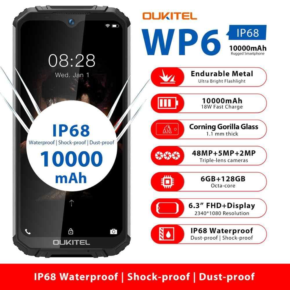 OUKITEL WP6 Ip68 sağlam su geçirmez Smartphone MT6771T Octa çekirdek 9V/2A 10000mAh pil 48MP üçlü kamera 6GB 128GB cep telefonu