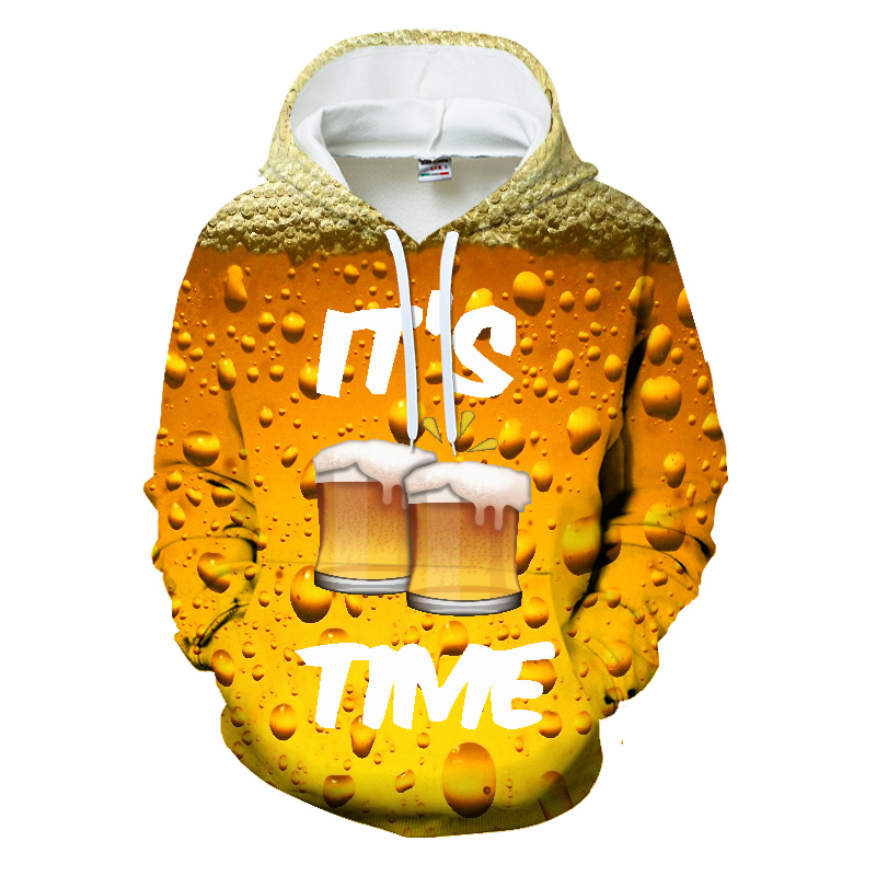 It's Time Beer Costume 3d Hoodies Pullover Fashion Men Women Hoodie Hoody Long Sleeve Homme 3D Hooded Sweatshirts Tracksuit Tops