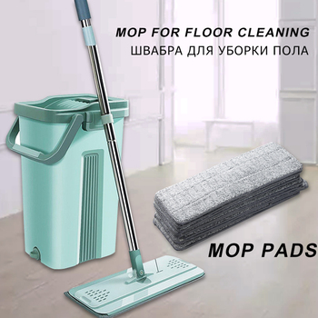 Automatic Spin Mop With Bucket Flat Squeeze Hand Free Wringing Magic Mop Microfiber Mop Pads Home Kitchen Floor Cleaning