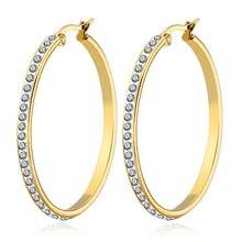 Todorova-pendientes de cristal brillante para mujer, Aretes circulares con diamantes de imitación, pendientes redondos de aro, joyería de acero inoxidable