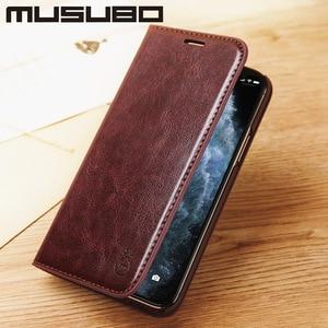 Image 4 - Musubo מקרה עבור iPhone 11 פרו מקס אמיתי עור Flip מקרי כיסוי 11 פרו Fundas יוקרה עבור iPhone Xs XR 8 7 6 בתוספת ארנק Coque