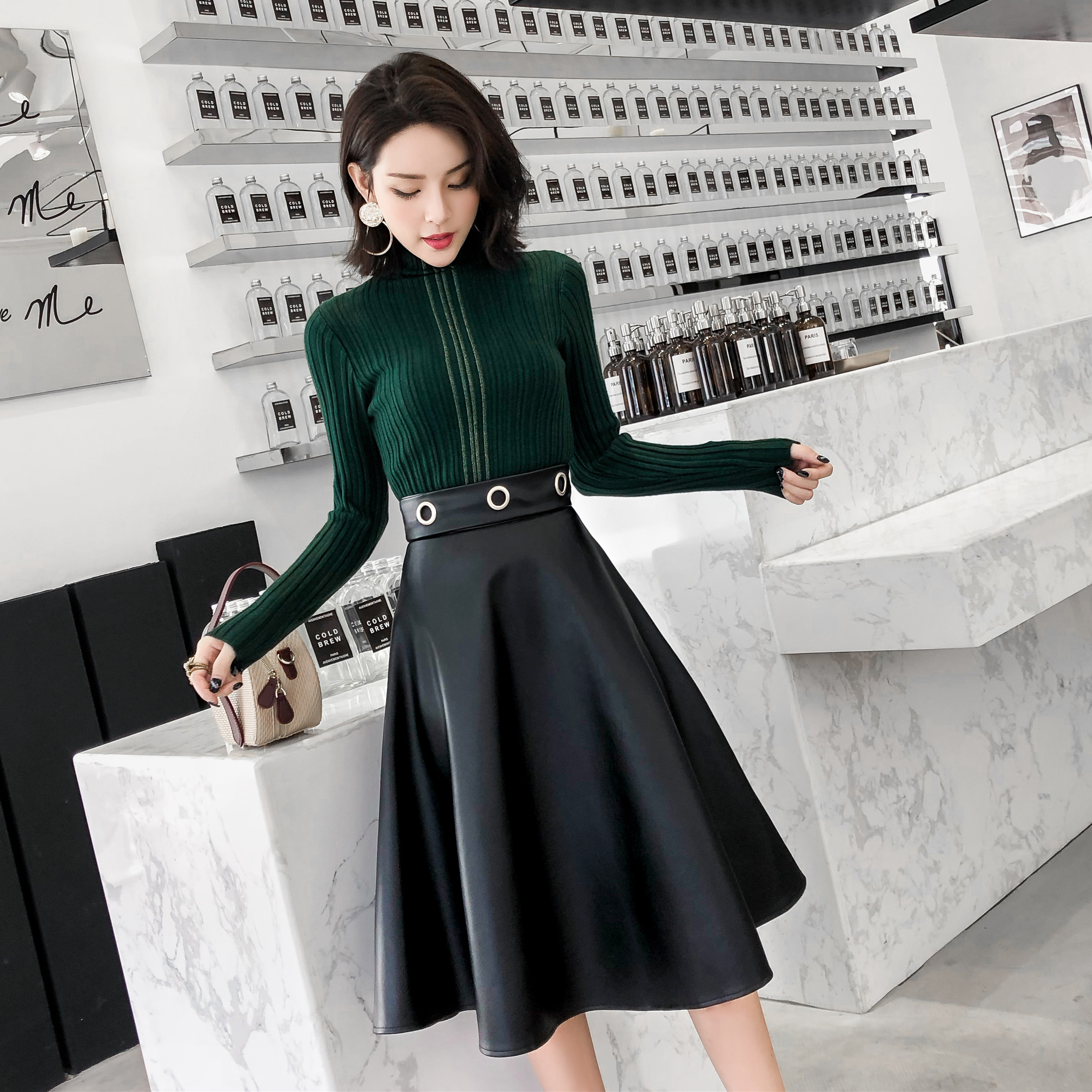 Autumn Winter New Women Solid Color PU Leather Skirt High Waist Prominent Figure Office Lady Knee-Length A Word Skirt 9216