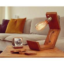 Lampa stołowa Retro Rustic Wood Rope-abażur tanie tanio