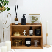 3 layers wood storage racks coffee/brown table corner decorations tools for perfume makeup cupcake stand candle holders