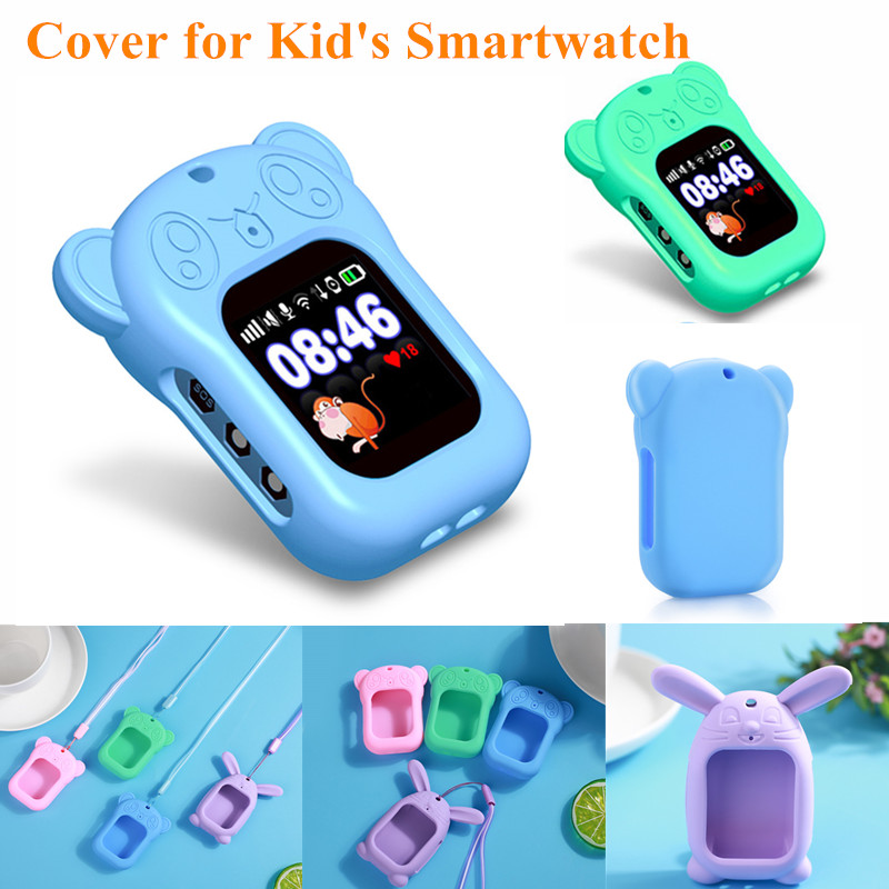 New Cartoon Rabbit Silicone Pendant Sling Protective Cover For Children's Smart Watch Z6 Q90 Kids Smart Watch