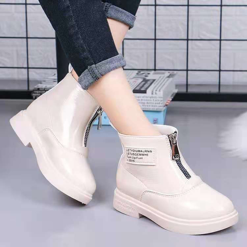 PU Leather Chilidren Boots Big Boys Girls Leather Ankle Boot Warm Fur Children Zipper Boots Casual Student Kid Warm Martin Boots