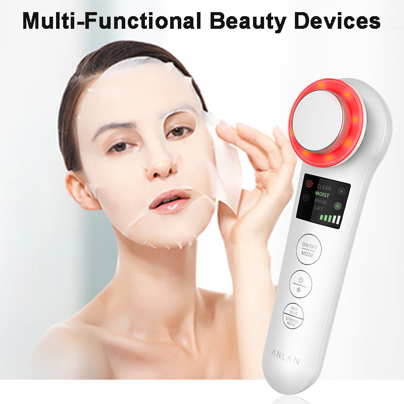 EMS Facial Massager RF Home Facial Cleansing Instrument Sonic Vibration Wrinkle Remover Hot Cool Ultrasonic Face Lifting